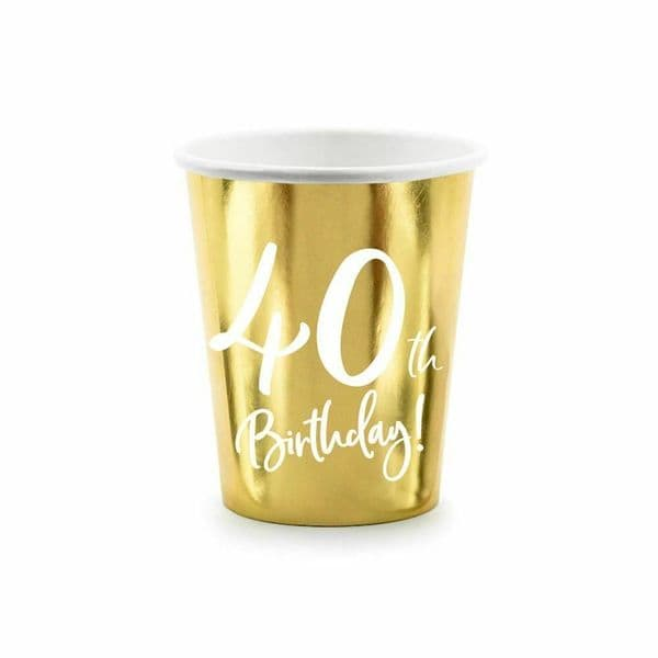 6 Gold 40th Birthday Party Paper Cups, 40th Birthday Cups, 40th Party Decorations, Paper Party Cups, Gold Party Cups